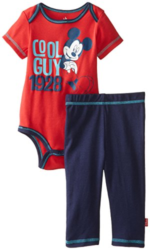 Disney Baby Boys Newborn Mickey Mouse Bodysuit And Pant Set- Cool Guy, Red, 6-9 Months