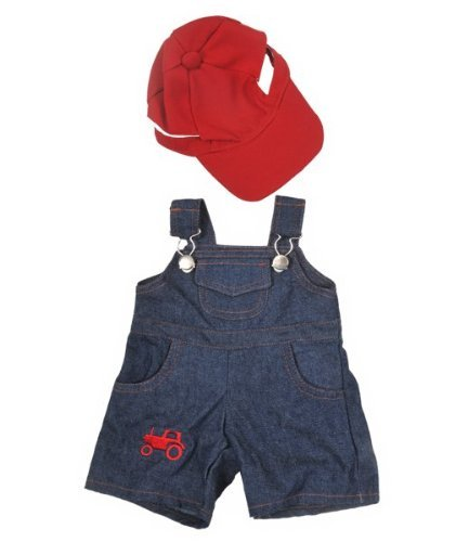 """Farmer"" Outfit with Cap Outfit Teddy Bear Clothes Fits Most 14"" - 18"" Build-A-Bear, Vermont Teddy Bears, and Make Your Own Stuffed Animals"