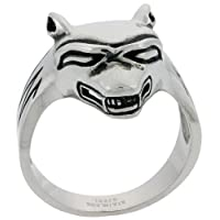 Stainless Steel 1 in. (26 mm) Wolf Ring (Available in Sizes 9 to 15), size 14