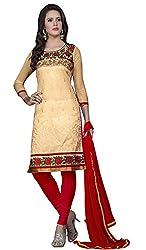 Khushali Presents Chudidar Dress Material(Chikoo,Red)
