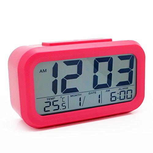 Jcc Automatic Night Glow Smart Light-Activated Sensor Bedside Digital Snooze Alarm Clock With Date And Temperature Display (Pink) front-104371
