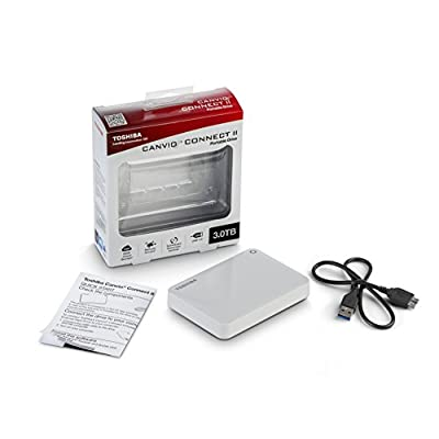 Toshiba Canvio Connect II 3TB Portable Hard Drive, White (HDTC830XW3C1)