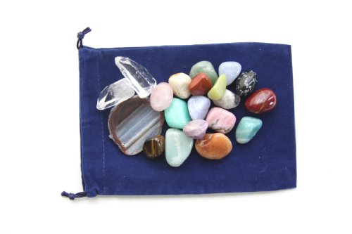 1/2 Pound of Tumbled Stones Crystal Points and Agate Slices in Velvet a Bag