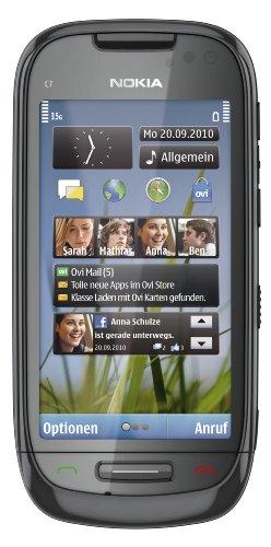 Nokia C7-00 Smartphone (8.89cm (3.5 Zoll) Touchscreen, 8MP Kamera, 8GB Interner Speicher, GPS, Ovi Karten) charcoal black