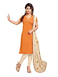 Applecreation Orange Embroidered Dress Material with Matching Dupatta