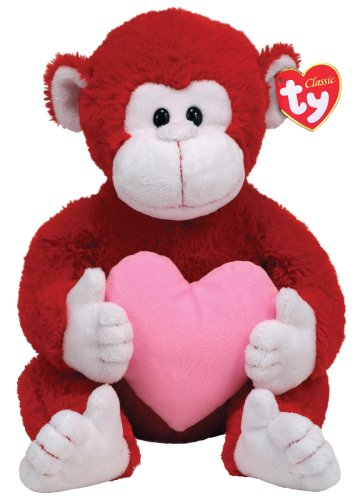 TY Classic Dynamite Red and White Monkey with Pink Heart
