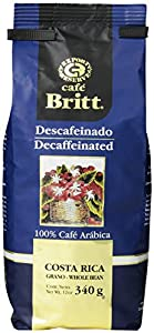 Cafe Britt Costa Rica Decaffeinated Whole Bean Coffee, 12 Ounce Bag