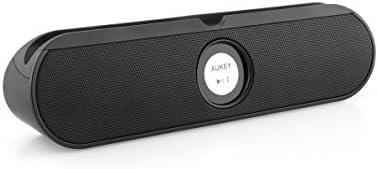 Aukey Enceinte sans fil Bluetooth, Haut-parleur stéréo Bluetooth, Enceinte Hifi Bluetooth avec un support arrière, 2 Haut-parleurs de 5W intégrés (Noir)
