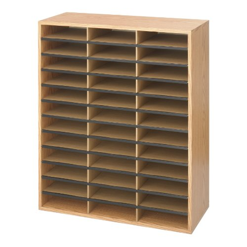 Safco Products Wood and Corrugated Literature Organizer, 36 Compartments, Medium Oak, 9403MO