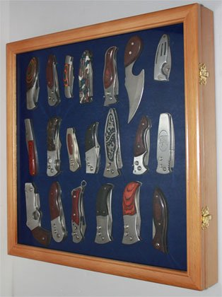 Knife Display Case Holder for pocket knives, with glass door, OAK Finish (KC04-OA) (Display Case For Knives compare prices)