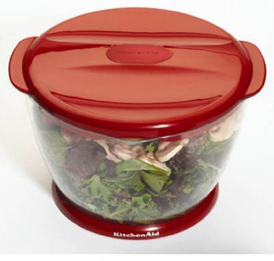 Lifetime Brands KC308BXERA Salad Spinner, 3-Dividers, Red