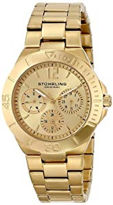 Stuhrling Original Symphony Regent Lady Capital women's quartz Watch with gold Dial analogue Display and gold Stainless steel gold plated Bracelet 558.02
