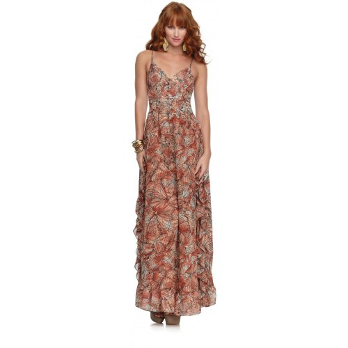 House of Dereon Butterfly Ruffle Maxi dress Pink