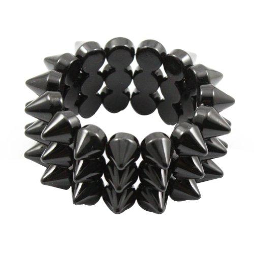 Zehui Black Cool Rock Punk Studs Hedgehog Spike Rivets Elastic Stretch Bangle Bracelet