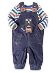 2 Piece Pure Cotton Corduroy Dungaree Outfit