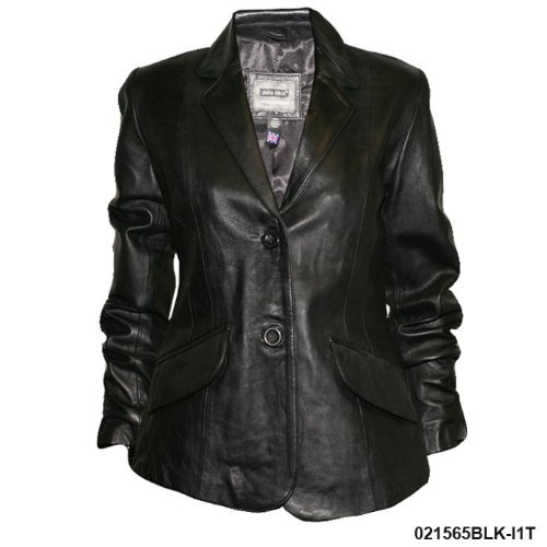 Ladies Black Tailored Real Leather Jacket I1T Size Ladies Size 10 (m)