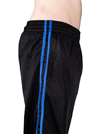 AllPro Men's AP Reflex Warm-Up Pants Track Pants Open Bottom (Medium, Black/Royal Blue Stripe)