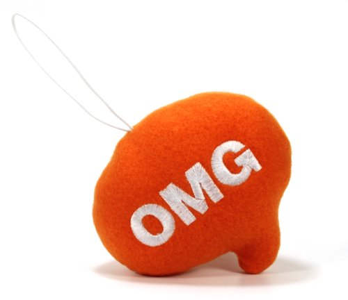 "Throwboy Throwbabies ""OMG"" Chat Mini 3.5"" Throw Pillow, Orange - 1"