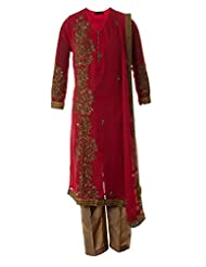 AzraJamil Indian Georgette Deep Pink Dabka Hand Worked Traditional Churidar Suit For Women