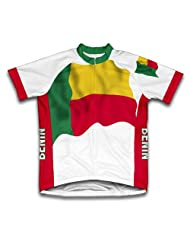 Benin Flag Short Sleeve Cycling Jersey for Women