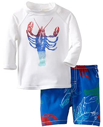 Charlie Rocket Baby-Boys Infant Lobster Swimshort, Blue/White, 18-24 Years