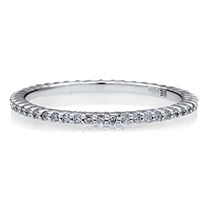 BERRICLE Sterling Silver 925 Cubic Zirconia CZ Full Eternity Engagement Wedding Ring Band Size 4