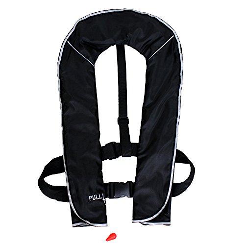 DABADA(ダバダ) ライフジャケット インフレータブル ベストタイプ 膨張式 救命胴衣 男女兼用 フリーサイズ (首かけ手動膨張式ブラック)