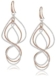 1AR+by+UnoAerre 1AR by UnoAerre Fine Silver and 18KT Rose Gold Plated Textured Swirl Earrings at Sears.com