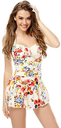 One Piece Floral Ruched Halter Push Up Slim Tummy Control Tankini Swim Dress