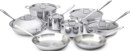 All-Clad 401716 Stainless Steel Tri-Ply Bonded Dishwasher Safe Cookware Set, 14-Piece, Silver (Triply Cookware compare prices)