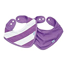 Bumkins Printed Waterproof Bandana Bib 2 Pack, Purple Stripe (0-9 Months)
