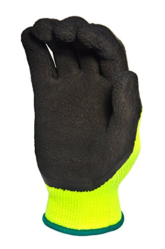 G & F 1516L-1 Premium High Visibility All Purpose MicroFoam Double Texure Coating Safety Work & Garden Gloves for Men and Women, Large