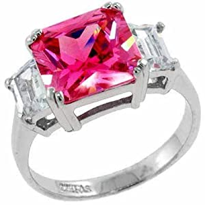 Silver Square PINK Sapphire Simulated Diamond Ring S10