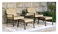 5 Piece Outdoor Leisure Set, Tan, Seats 2 - Patio Deck Furniture Set Comes with One Table and Two Chairs, Two Ottomans by Outdoor Furniture