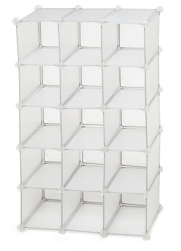 Storage Solutions 15-Pair Shoe Cubby, White Frost