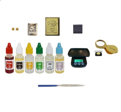 Dental Lab Supplies: Complete Gold, Silver, Platinum Test Kit with Electronic Scale, Magnifying Glass, Stones and Free Silver and Gold Bars!