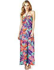 Tahiti Palm Print Maxi Dress