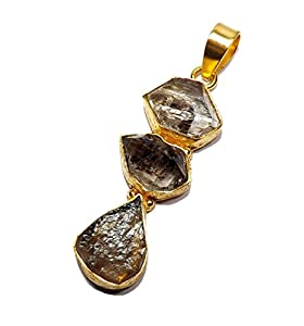 Sitara Collections SC10363 Gold-Plated Brass Herkimer Diamond Smoky Quartz Pendant/Necklace