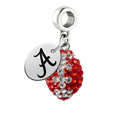 Alabama Crimson Tide Crystal Football Drop Charm Fits All European Style Charm Bracelets