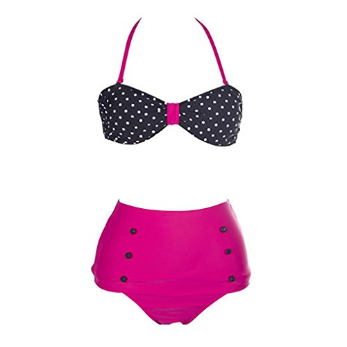 Girls High Waist Bikini Swimsuit Color:Rose Red image