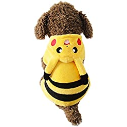 Gimilife PT Yellow Pet Dog Comic Pattern Party Costume Pajamas Hoodie Coat Warm Fleece Small Cute Pikachu Fancy Outfit (XL)