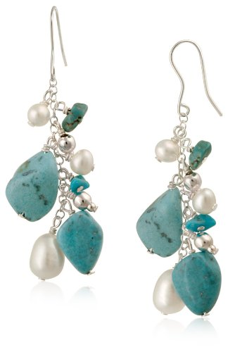 Sterling Silver Turquoise and Freshwater Cultured Pearl Linear Drop French Wire Earrings