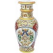 Crafticia Craft Rajasthani Handicraft Marble Peacock Vase Decorative Showpiece - 10 Inch