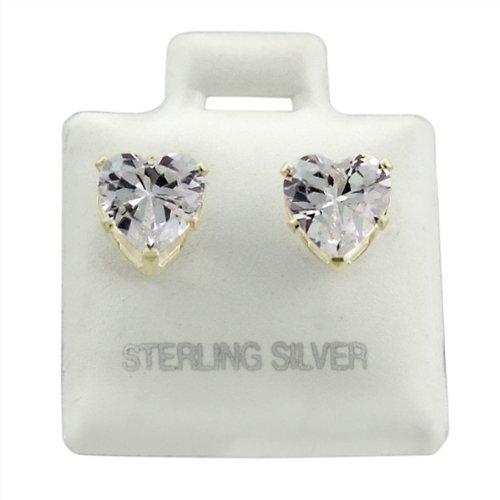 Sterling Silver Heart Clear CZ Studs 4mm Earings