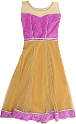 Kanchoo Girls' Long Frock (BSKF004_10-11years, Purple & Beige, 10-11years)