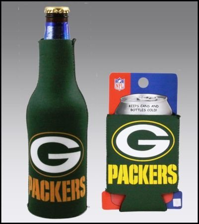 Set Of 2 Green Bay Packers Can & Bottle Koozie Cooler