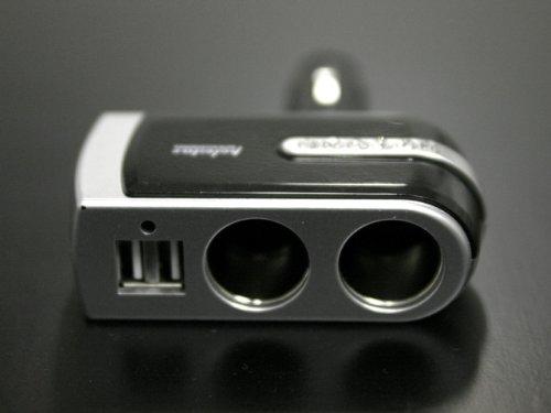 【カー用品】12/24V車用 2連USBカーチャージャー(USBポート×2)★ラインストーン付でセンスが光る!! ★カーナビ・デジカメ・携帯電話・ゲーム機等の充電等に!!