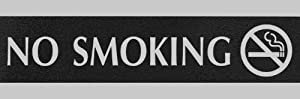 U.S. Stamp & Sign HeadLine Century Series 3x9 Inch No Smoking Sign, Black and Silver, 4757