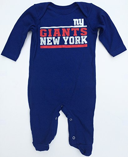 Nfl New York Giants Stacked Long Sleeve Footed Baby Pajama, 3-6 Months front-1004671