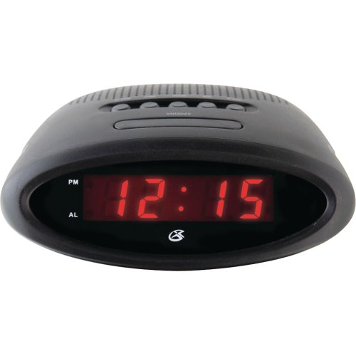 GPX C200B AM/FM Clock Radio with Alarm and Red LED Display (Black)
